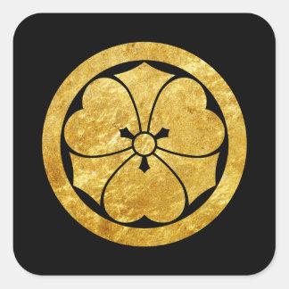 Guld för Sakai Måndag japanskt samuraifaux på Fyrkantigt Klistermärke