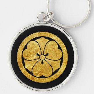 Guld för Sakai Måndag japanskt samuraiklan på Rund Silverfärgad Nyckelring