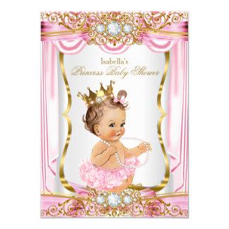 Guld för silke för brunettflickaPrincess baby 12,7 X 17,8 Cm Inbjudningskort
