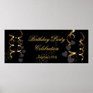 Guld för svart för banerfödelsedagsfestfirande poster
