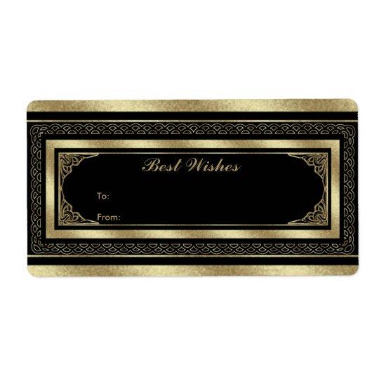 Guld för svart för Brocade för etikettgåvamärkre Fraktsedel