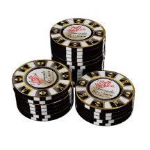 Guld för svart för vit för Vegas bröllopkasino Casino Tokens
