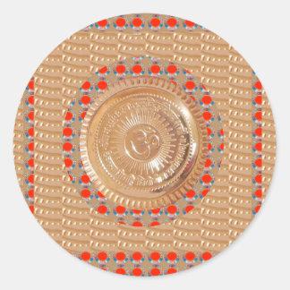 GULD för symbol för GAYATRI-Mantra n OmMantra Runt Klistermärke