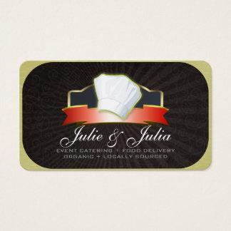 Guld för visitkort för kockhattkock & rött band