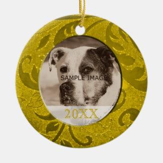 Guld- foto för husdjur för personlig för julgransprydnad keramik