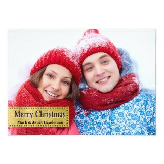 Guld- fotokort för god jul 12,7 x 17,8 cm inbjudningskort