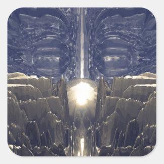 Guld- Fractalmiljö Fyrkantigt Klistermärke