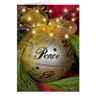 Guld- fredprydnad för jul hälsningskort