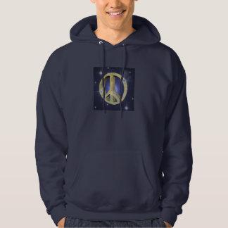 Guld- fredstecken sweatshirt med luva