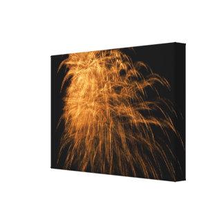Guld- fyrverkerier på kanfas canvastryck