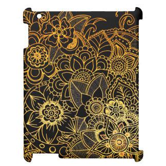 Guld G523 för klotter för smart iPadfodral blom- iPad Mobil Skal