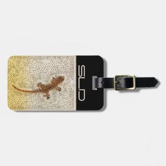 Guld- gecko med din egna initialer bagagebricka