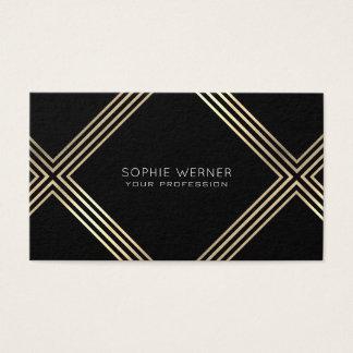 guld- geometriskt för modern faux på elegantsvart visitkort