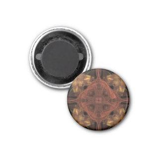 Guld- Gingham med röd medaljongFractalkonst Magnet