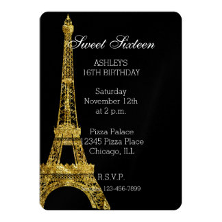 Guld- Glam Eiffel tornsweet sixteen 12,7 X 17,8 Cm Inbjudningskort