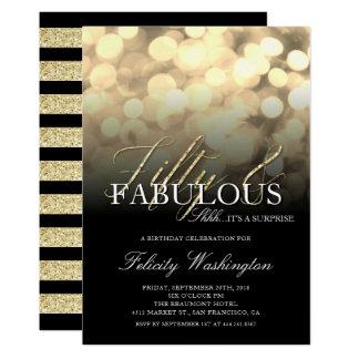 Guld- Glam femtio & sagolik 12,7 X 17,8 Cm Inbjudningskort