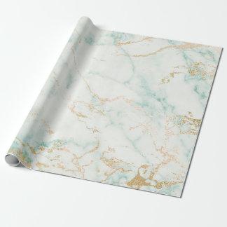 Guld- Glam marmor för vitMintgrönt Presentpapper