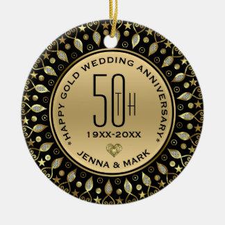 Guld- glitter cirklar bröllopsdag för ram 50th julgransprydnad keramik