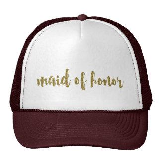Guld- glitter för maid of honorbrölloptruckerkeps keps