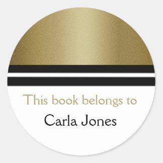 Guld- glitter för personligbibliotekbokägarmärkear runt klistermärke