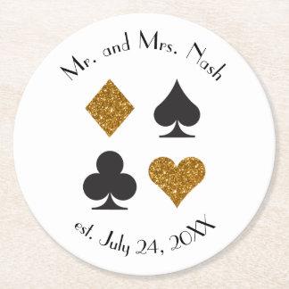 Guld- glitter Las Vegas som gifta sig den Underlägg Papper Rund