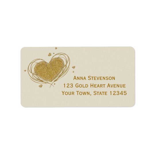 Guld- Glitter-Look hjärta Adressetikett