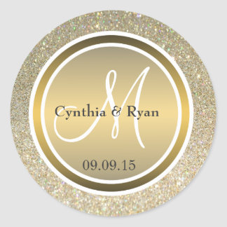 Guld- glitter & metalliska brons bröllopmonogramen runt klistermärke