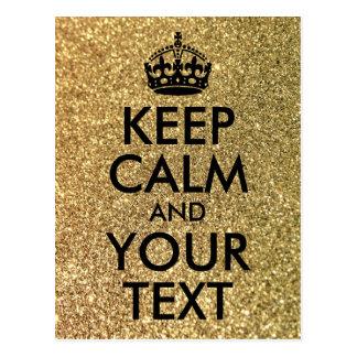 Guld- glitter och svart behållalugn och din text vykort