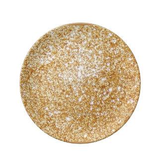 Guld- glitter pläterar porslinstallrik
