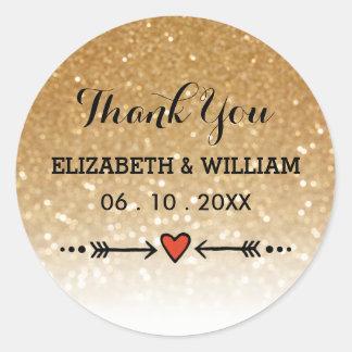 Guld- glitter + Tack för älsklingpilbröllop Runt Klistermärke