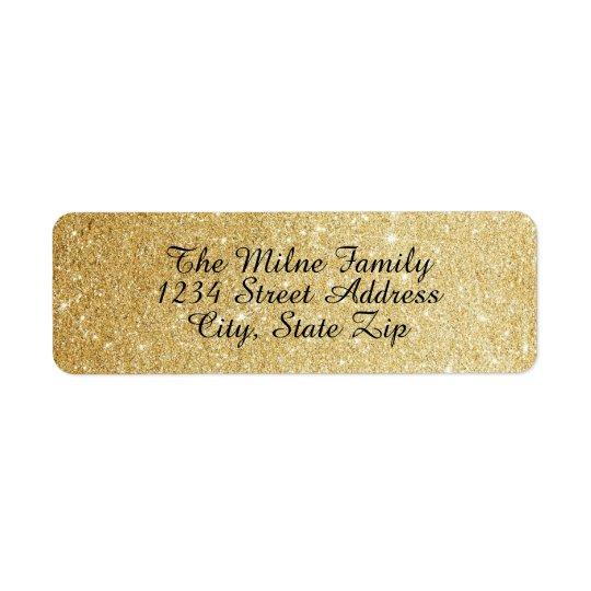 Guld- glitteradressetiketter för Faux Returadress Etikett