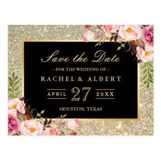 Guld- glitterblommigtbröllop spara datum vykort