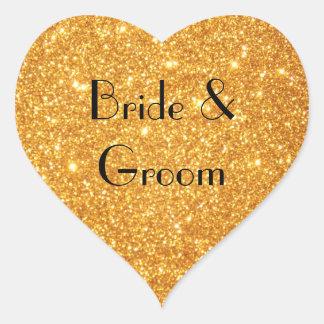 Guld- glitterfoto för brud och för brudgumbröllop hjärtformat klistermärke
