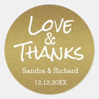 Guld- glitterkärlek och tack som gifta sig favör runt klistermärke