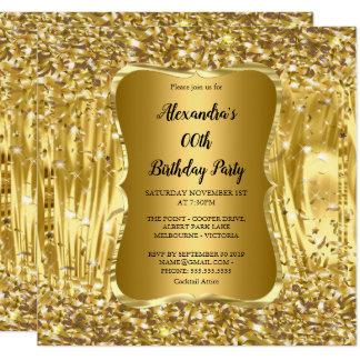 Guld- glitterkonfettiar för elegant fyrkantigt 13,3 cm inbjudningskort