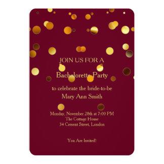 Guld- glitterkonfettiSparkles Bachelorette 12,7 X 17,8 Cm Inbjudningskort