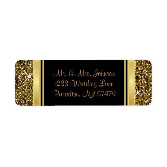 Guld- glitterkonfettitryck returadress etikett