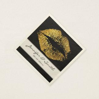 Guld- glitterläppar papper servetter