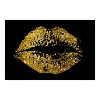 Guld- glitterläppar poster