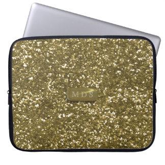 Guld- glitterlaptop sleeve för Faux