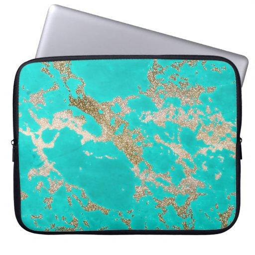 Guld- glittermarmor för enorm moderiktig modern laptopskydd