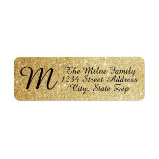 Guld- glitterMonogramadressetiketter Returadress Etikett