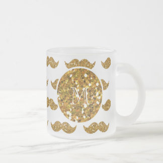 Guld- glittermustaschmönster din Monogram Frostad Glas Mugg
