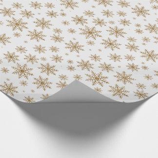 Guld- glittersnöflingor presentpapper
