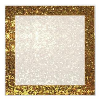 Guld- gnistrabakgrund kvadrerar inbjudan