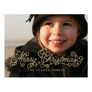 Guld- god jul skrivar helgdagfotovykortet vykort