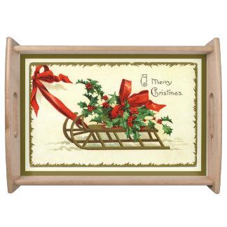 Guld- god julSleigh för vintage Serveringsbricka