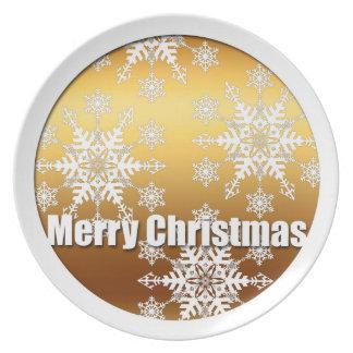 Guld- god julsnöflingor - tallrik