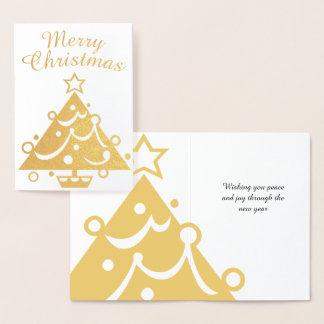 Guld- god julträd folierat kort