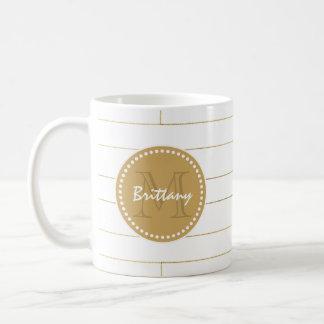 Guld görad randig Monograminitialer och namnmugg Kaffemugg